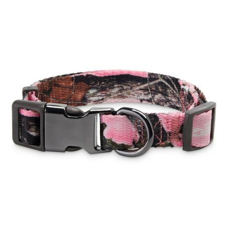 Vibrant Life Pink Camo Dog Collar with Metal Clasp, Medium, 10