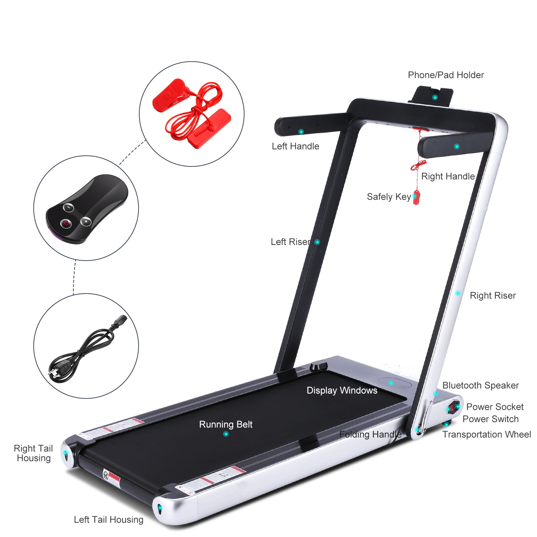 Happybuy 2 in 1 Folding Treadmill Intelligent Speed Control Slim Under Desk Treadmill Slim Design with Transport Wheels Walking Treadmill for Home Gym Cardio Exercise