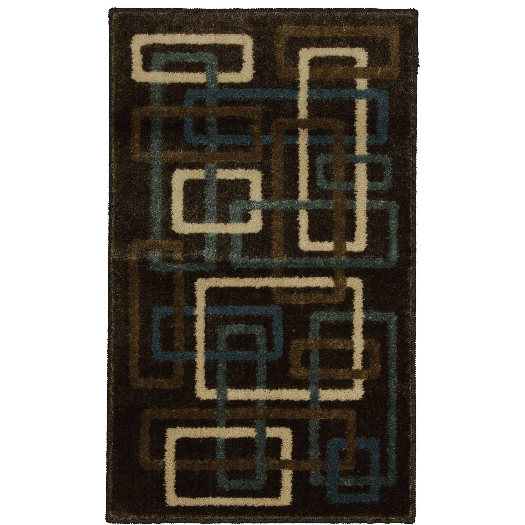 Mainstays Interlaced Woven Olefin Square Rug, Brown