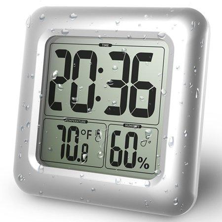 HURRISE Horloge murale d'aspiration, horloge murale de salle de bains, horloge murale numérique de salle de bains imperméable à l'eau murale d'aspiration d'horloge thermomètre hygromètre - image 4 de 9
