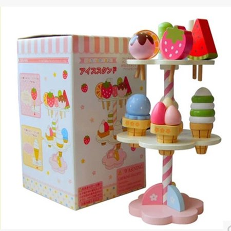 Baby Kids Playhouse Toys Simulation Kitchen Wooden Kitchenware Ice Cream