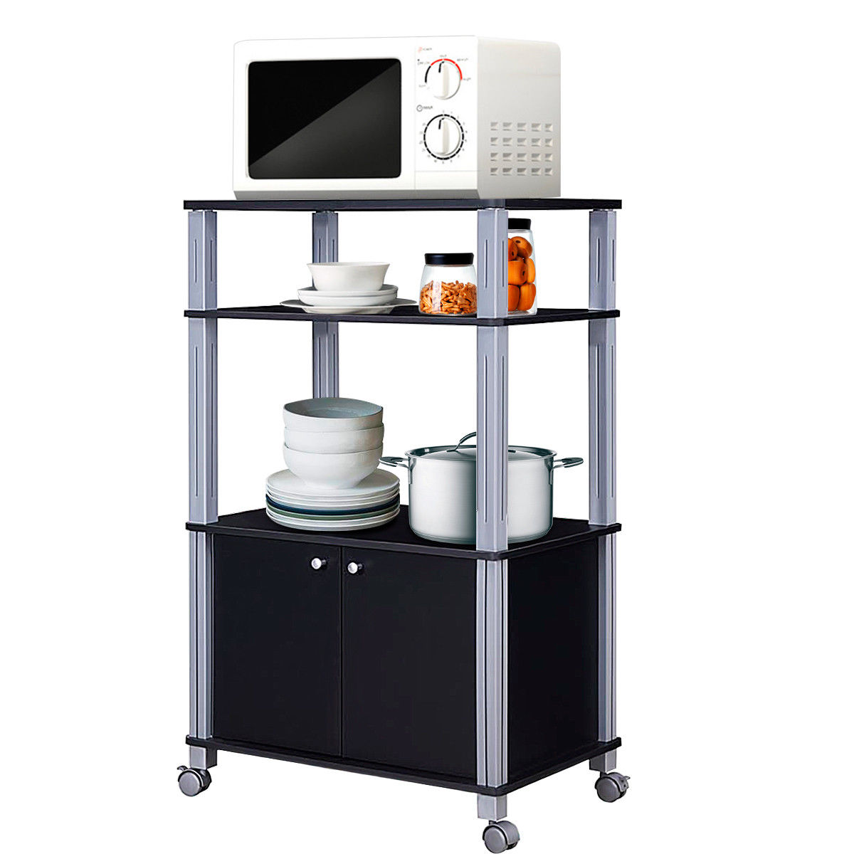 Gymax Bakers Rack Microwave Stand Rolling Storage Cart Multi-functional Display Black