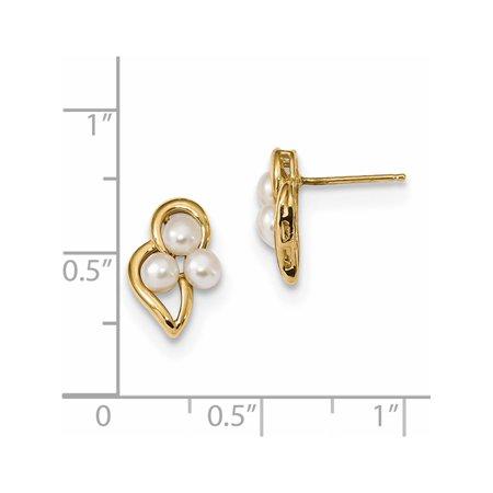 Bouton blanc de 14K Or jaune d'eau douce de perles de culture Boucles d'oreilles (post) de 8.55x12.4mm - image 1 de 2