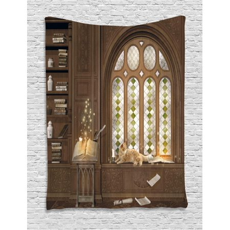 Gothic Tapestry, Room for Study in the Medieval Library with Cat Sleeping on the Window Antique Mansion, Wall Hanging for Bedroom Living Room Dorm Decor, Taupe, by - Gothic Mansion Wall Decor