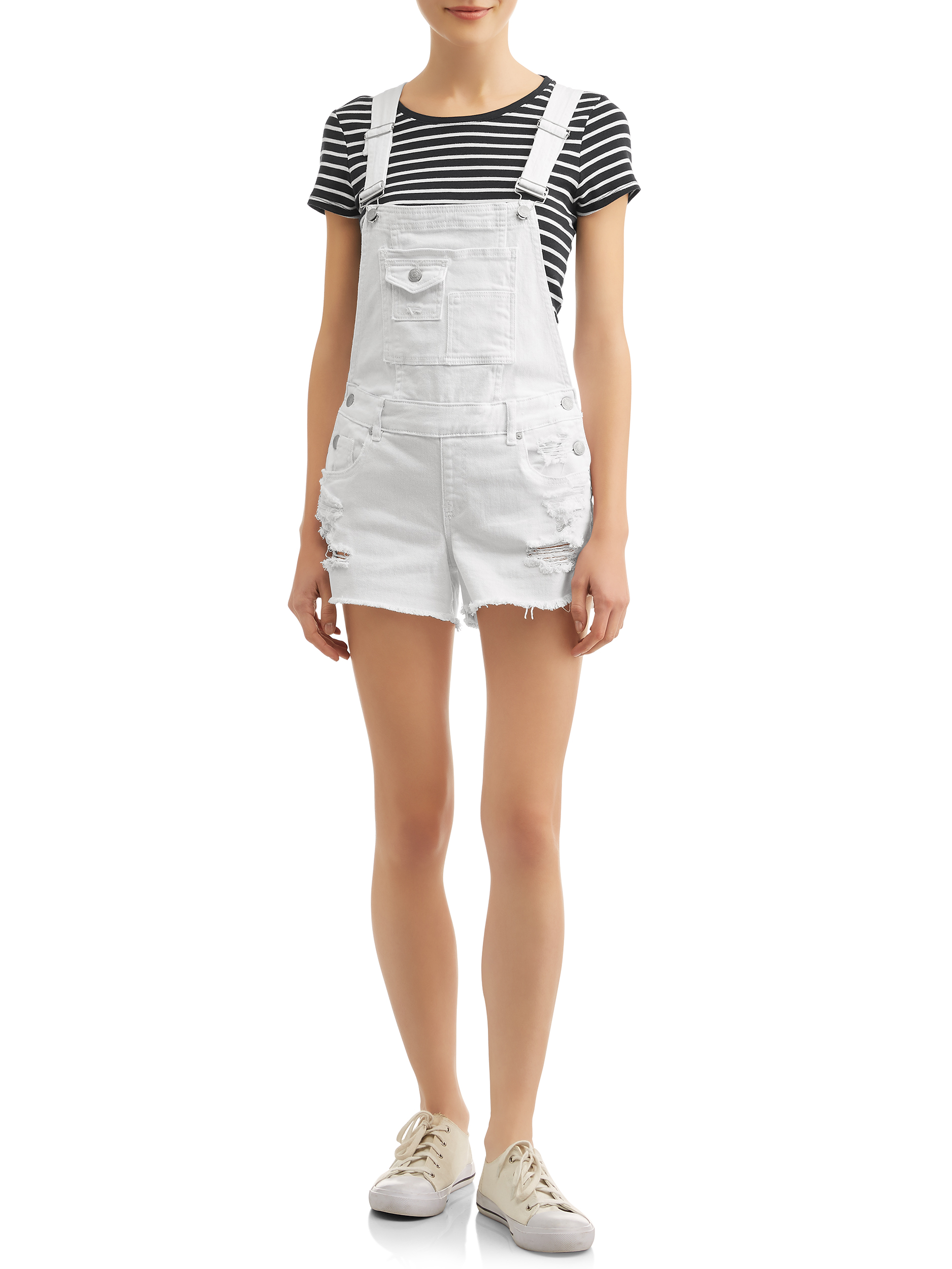 Juniors' Distressed Rolled Cuff Shortalls