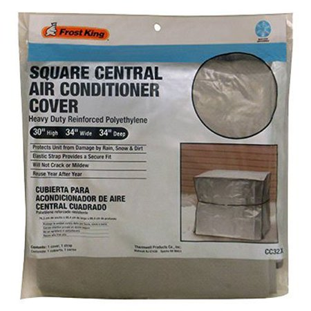 Frost King CC32XH 34x34x30 Square Central Air Conditioner Cover (Heavy Duty Reinforced Polyethylene), Fits square Central air conditioner units By
