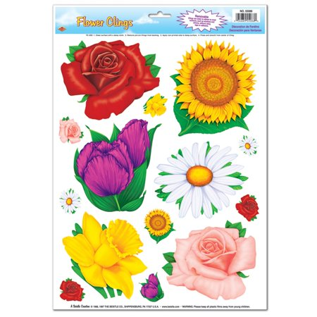 Club Pack of 168 Vibrant Colorful Spring Time Flowers Decorative Clings](Spring Window Clings)