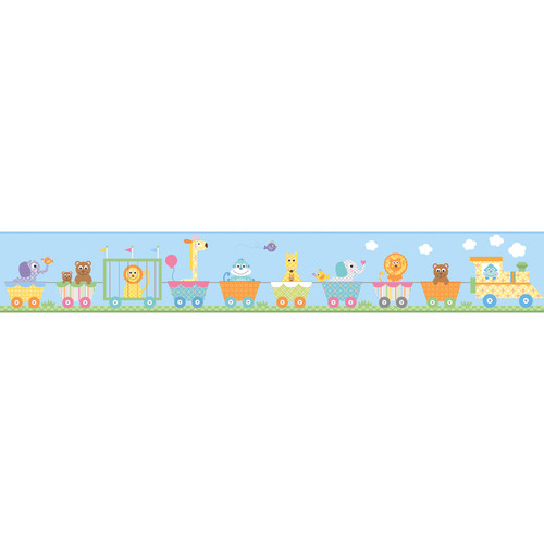 York Wallcoverings Peek-A-Boo Circus Train Wallpaper Border