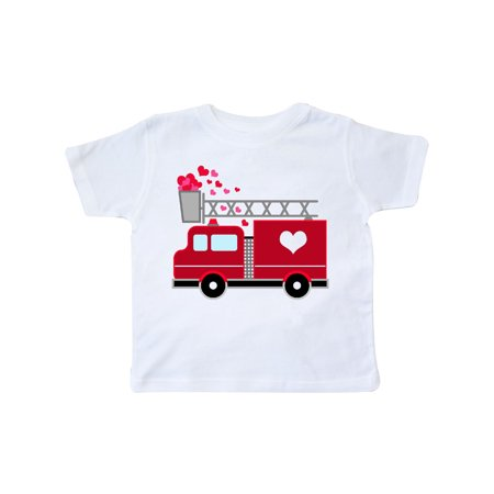 Valentine's Day Red Firetruck With Pink Hearts Toddler T-Shirt