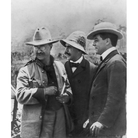 Theodore RooseveltN(1858-1919) 26Th President Of The United States With Journalists Stephen Bonsal (Center) And Richard Harding Davis (Right) In Cuba 1898 Rolled Canvas Art -  (24 x 36)