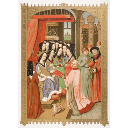 The Court Of Mary Of Anjou 1404 To 1463 Wife Of Charles Vii Her Chaplain Robert Blondel Presents Her With The Allegorical Treatise Of The Twelve Perils Of Hell Which He Composed For Her In 1455 Facsim