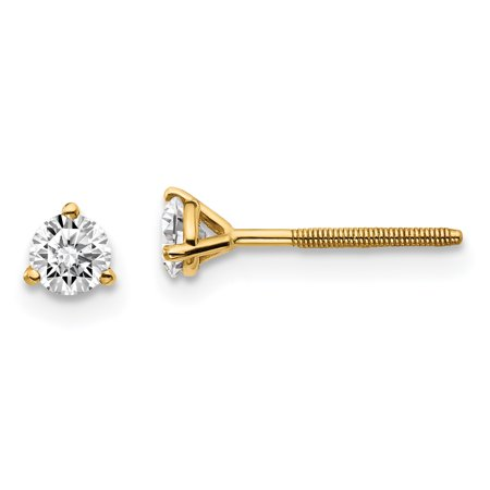 14k Yellow Gold 1/3ctw Certified Vs/si Def Lab Grown Diamond 3 Prong Screwback Earrings Stud Screw Back Fine Jewelry For Women Gift Set