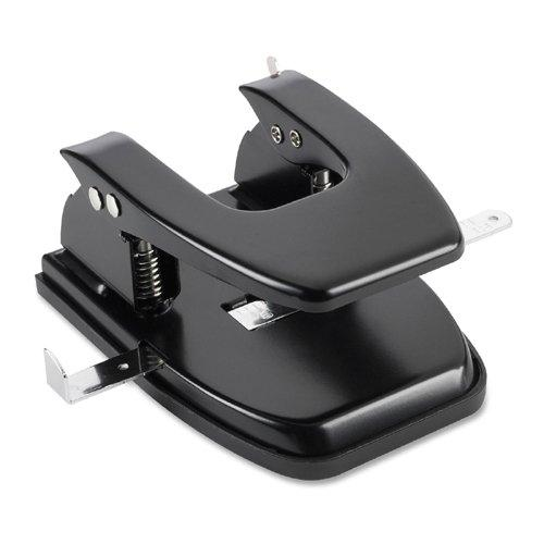 "Business Source Heavy-duty Hole Punch - 2 Punch Head[s] - 30 Sheet Capacity - 1/4"" - Round Shape - Black (BSN65626)"