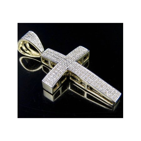 Real Diamond Cross (Men's 10K Yellow Gold Real Diamond Dome Cross Pendant .50CT 1.6