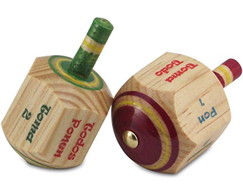 for Cinco De Mayo Party Set of 2 Hand Painted Wood 3 Inches Tall Spinning Tops Traditional Mexican Game in Spanish MoreFiesta 2 Wooden Pirinola Toma Todo Spinner