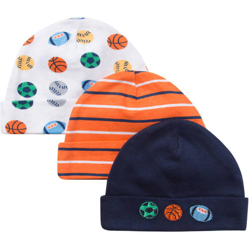 Gerber Newborn Baby Boy Embroidered Sport Caps, 3-Pack