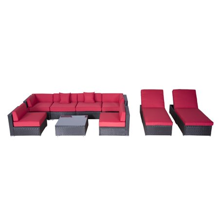 Outsunny Modern Patio Rattan Wicker Sofa Sectional Chaise Lounge Crimson