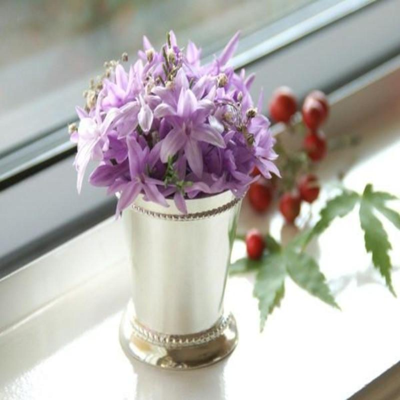 BalsaCircle 2-Inch tall Silver Metal Small Mint Julep Cup Mini Vase - Centerpieces Table Top Wedding Party Catering Tableware