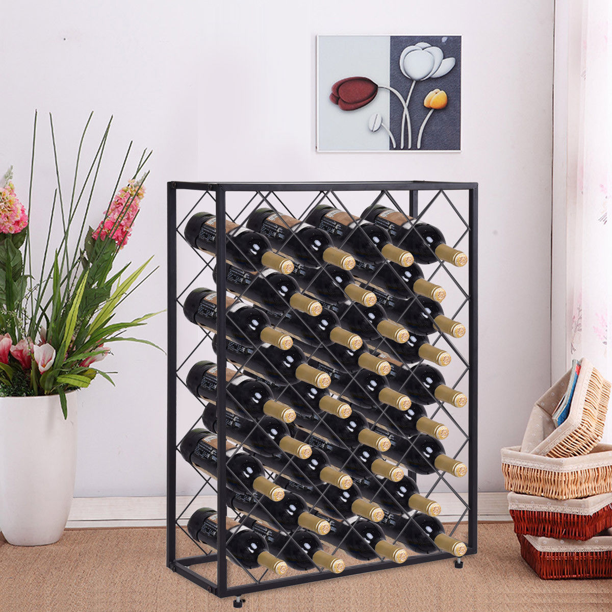 Gymax 32 Bottle Wine Rack Metal Storage Display Liquor Cabinet w/Glass Table Top