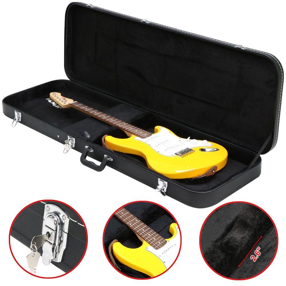 Yaheetech Electric Bass Guitar Hard Case Wooden Leather Black