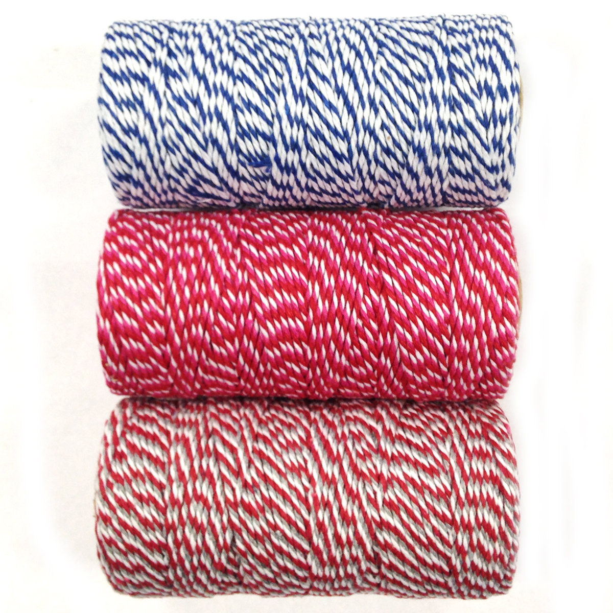 Wrapables® Cotton Baker's Twine 12ply 330 Yards (Set of 3 Spools x 110 Yards) for Gift Wrapping, Party Decor, and Arts and Crafts  ( Navy, Red & Hot Pink, Red & Grey)