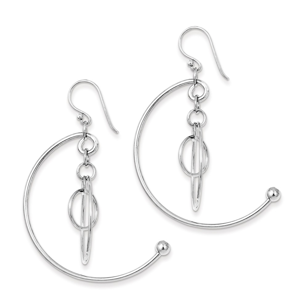 Sterling Silver Rhodium Plated Circles Dangle Earrings (1.8IN Long)
