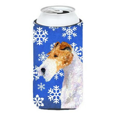 Fox Terrier Winter Snowflakes Holiday Tall Boy bottle sleeve Hugger - image 1 de 1