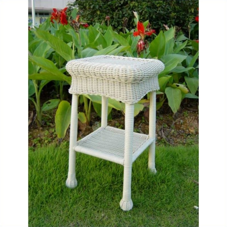 International Caravan Monaco Wicker Patio Side Table-Mocha