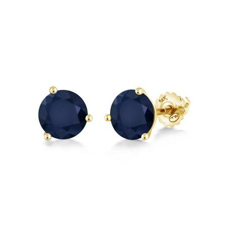 2.00 Ct Round 6mm Blue Sapphire 14K Yellow Gold Stud Earrings Round Blue Sapphire Earrings