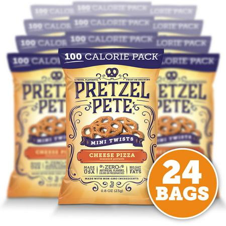 Pretzel Pete Mini Twist Pretzels, 100 Calorie Pack, Cheesy Pizza, .8 Oz, Pack of 24 - Mini Pizzas Halloween