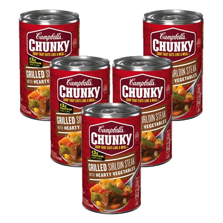 (5 Pack) Campbell's Chunky Grilled Sirloin Steak & Hearty Vegetables Soup, 18.8 oz. 12 Top Sirloin Steaks