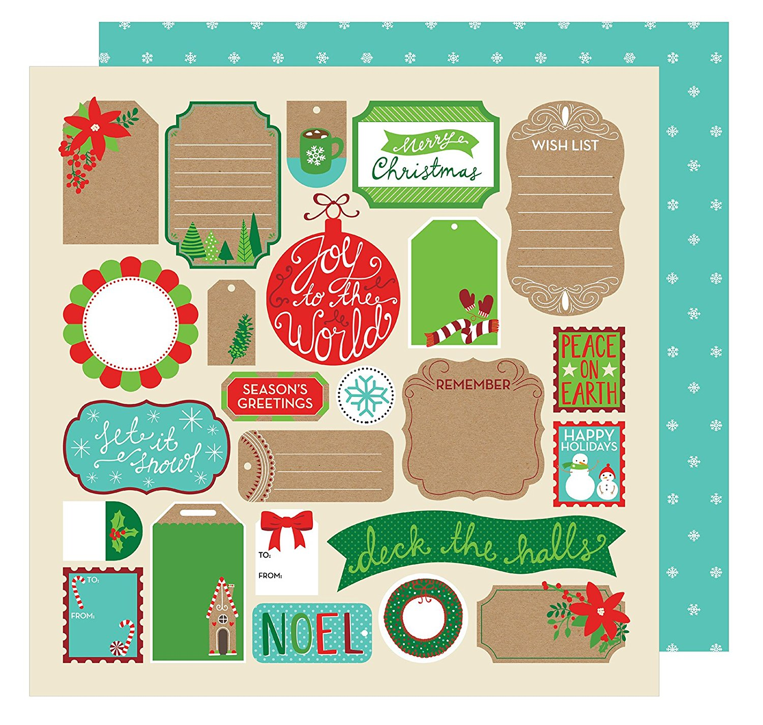 American Crafts All Wrapped Up Collection Christmas 12 X 12 Double Sided Paper Tags