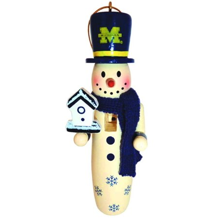 "6 NCAA University of Michigan Wolverines Wooden Snowman Christmas Ornaments 6"" - Walmart.com"