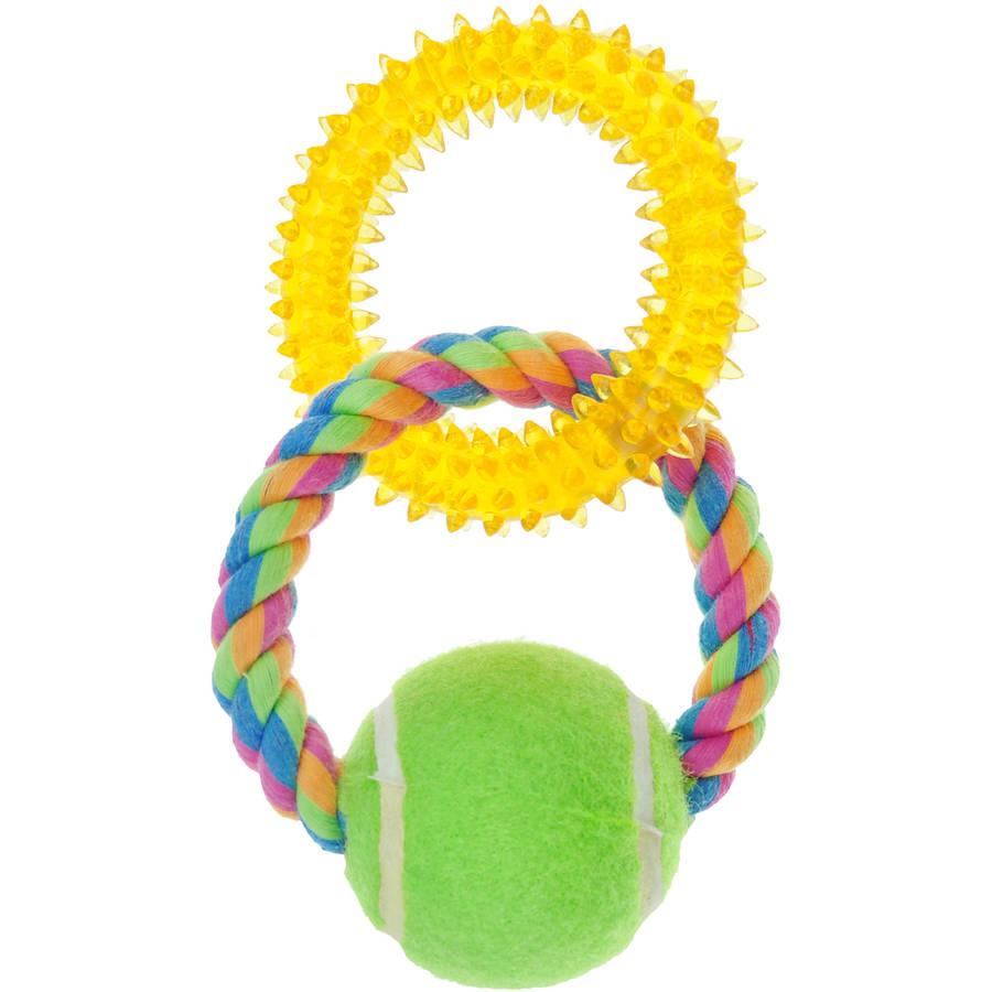 Pugslies Double Ring Tennis Ball Tug Dog Toy Walmart Com