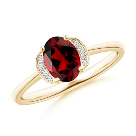 e5f24ecbd1b9e Valentine Jewelry Gift - Solitaire Oval Garnet and Diamond Collar Ring in  14K Yellow Gold (7x5mm Garnet) - SR1085GD-YG-AAAA-7x5-6
