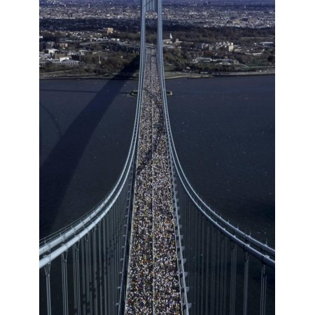 Runners Crossing the Verrazano Bridge after Starting the 1999 New York City Marathon Print Wall Art ()