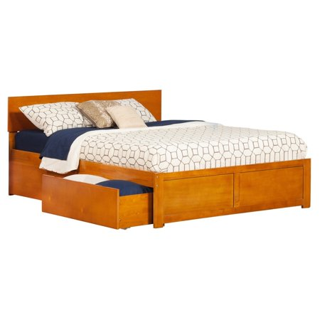 Atlantic Furniture Orlando King Platform Bed with Flat Panel Foot Board and 2 Urban Bed Drawers in Caramel
