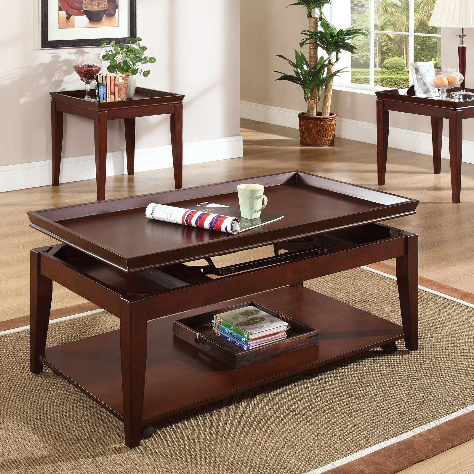 Steve Silver Clemens Rectangular Cherry Wood Lift Top 3 Piece Coffee Table Set