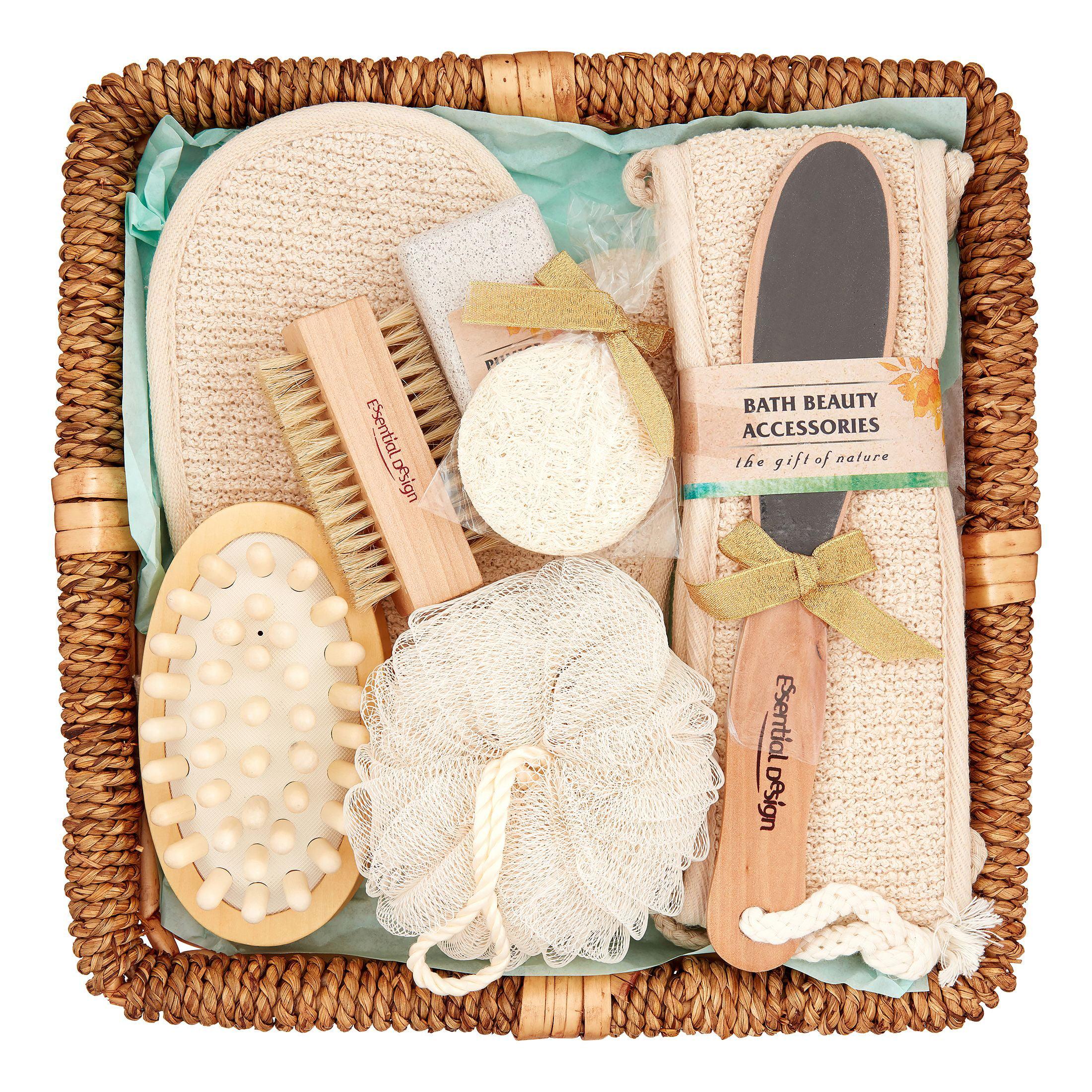 Essential Design Bath Spa Gift Set In Rattan Basket 9 Pieces