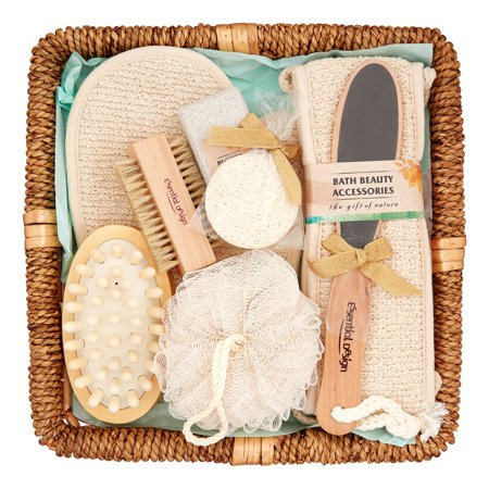 Essential Design Bath Spa Gift Set In Rattan Basket 9 Pieces