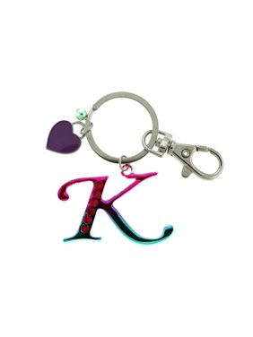 4b1e2ce8c5e Product Image Rhinestone Accented Multi-Colored Initial Letter K With  Silver-Tone Split-Ring Key