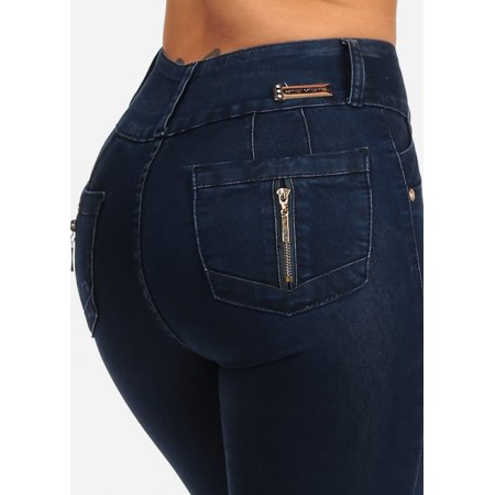 Womens Juniors Stretchy Dark Wash 3 Button Closure High Waisted Butt Lifting Colombian Design PUSH UP Skinny Jeans -