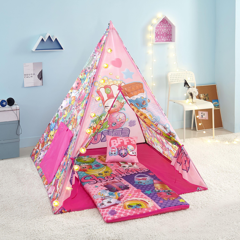 Shopkins Girls Teepee Tent Set with BONUS Lights, Slumber Bag, and Pillow