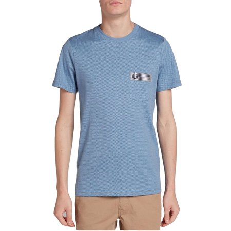 Fred Perry Men Tees (Fred Perry Mens Gingham Trim Polkadot T-Shirt Smoke Blue Marl Size:)