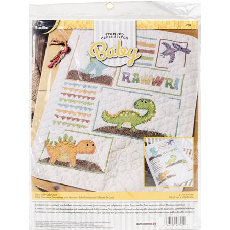 "Bucilla Stamped Crib Cover Cross Stitch Kit 34""X43""-Dino Baby"