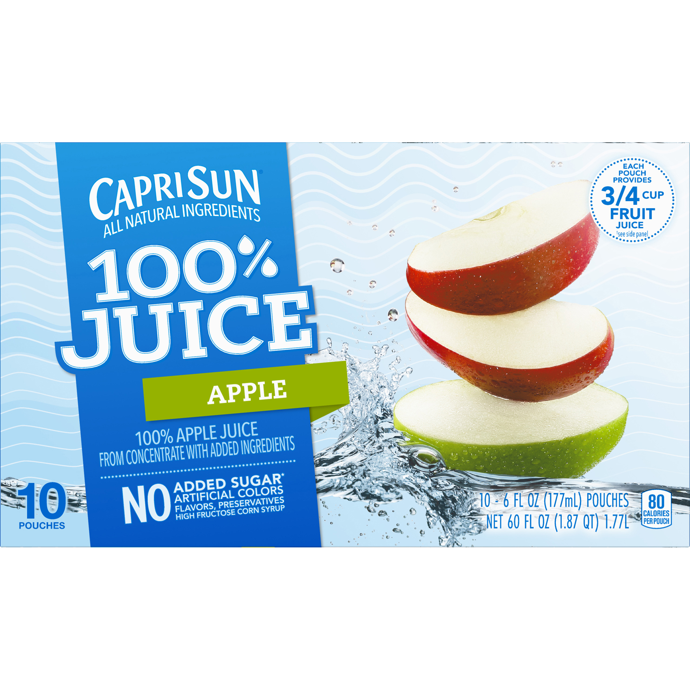 Capri Sun 100% Juice Pouches, Apple, 6 Fl Oz, 10 Count (Pack of 3)