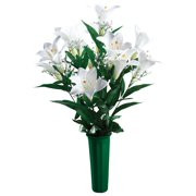 Easter Lily Memorial Bouquet by OakRidge? -- Silk Floral Indoor/Outdoor Dcor, 23? High