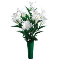 Easter Lily Memorial Bouquet by OakRidge? -- Silk Floral Indoor/Outdoor Décor, 23? High