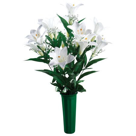 "Easter Lily Number (Easter Lily Memorial Bouquet by OakRidge™ -- Silk Floral Indoor/Outdoor Décor, 23"" High)"