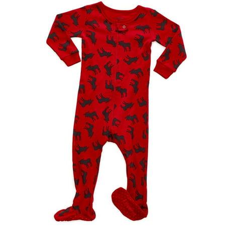 Leveret Black Moose Footed Pajama Sleeper 100% Cotton 6-12 Months